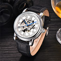 MCE Brand Automatic Watch Mens Leather Band Self Winding Watches Men Skeleton Mechanical Wrist Watch Automatico Relogio