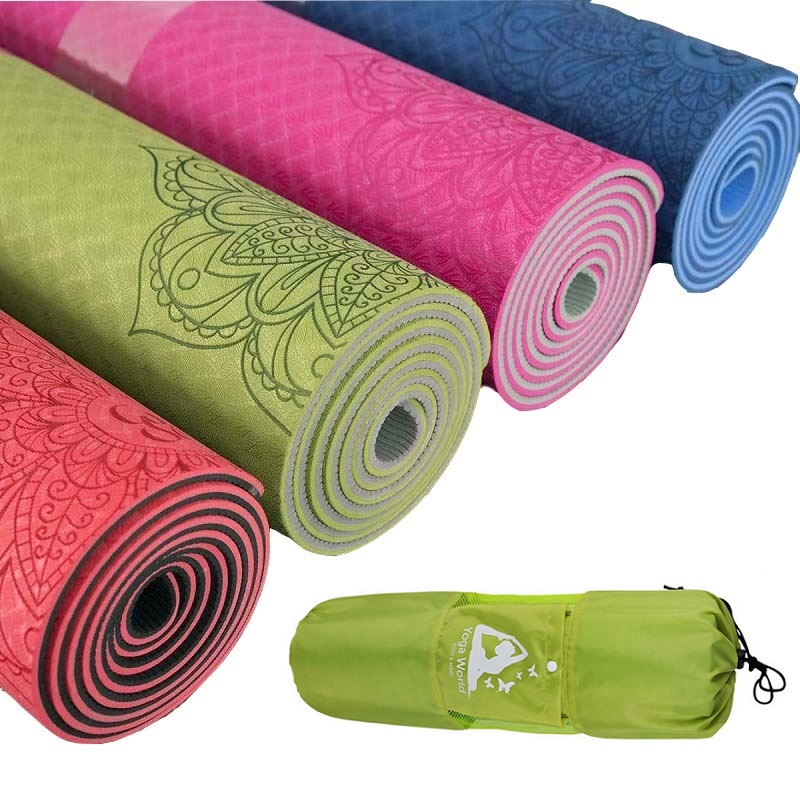 Dature TPE Yoga Mat 6mm Fitness Mat Fitness Yoga Sport Mat Gymnastics Mats With Yoga Bag Balance Pad Yogamat 183*61cm*6mm dature tpe yoga mat 6mm fitness mat fitness yoga sport mat gymnastics mats with yoga bag balance pad yogamat 183 61cm 6mm