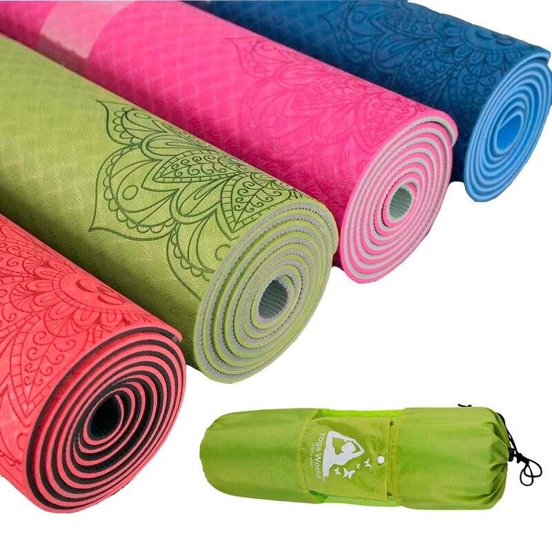 Dature TPE tapis de Yoga 6mm tapis de Fitness Fitness Yoga tapis de Sport tapis de gymnastique avec sac de Yoga coussin d'équilibre Yogamat 183*61 cm * 6mm