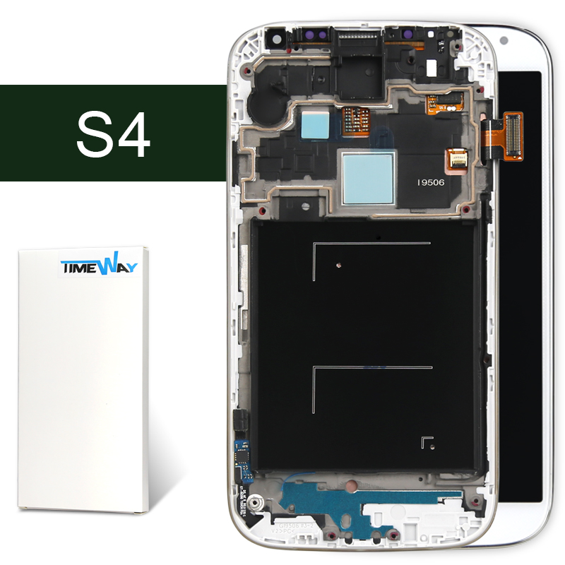 DHL 30pcs For Samsung S4 I9500 i9505 i337 i9506 LCD Display + touch screen assembly White and blue with frame --Timway
