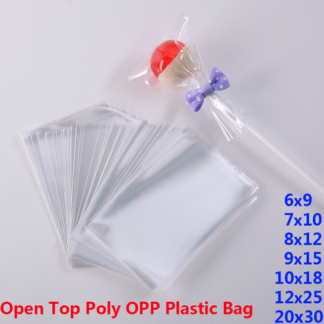 Clear Opp Poly Plastic Baggie Wedding Birthday Party Bag For Candy Lollipops Cookie Packaging Bags Diy