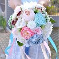 2017 Beautiful Colorful Bridal Bridesmaid Flower wedding bouquet artificial flower rose bridal bouquets