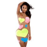 Lieve-Lover Roupas Femininas Neon Liefde Kleurrijke Print Naakt Illusion Mini Club Jurk Mouwloze LC21683 Sxey Ropa Mujer