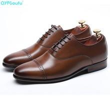 Genuine Cow Leather Toe Cap Wedding Men Shoes Designer Dress Shoes Black Brown Lace-up Fashion Italian Brand Shoes недорого