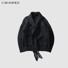 CARANFIER Pullover Sweater Warm Autumn Winter Knit Scarf Coat Hook Pattern LongSleeve