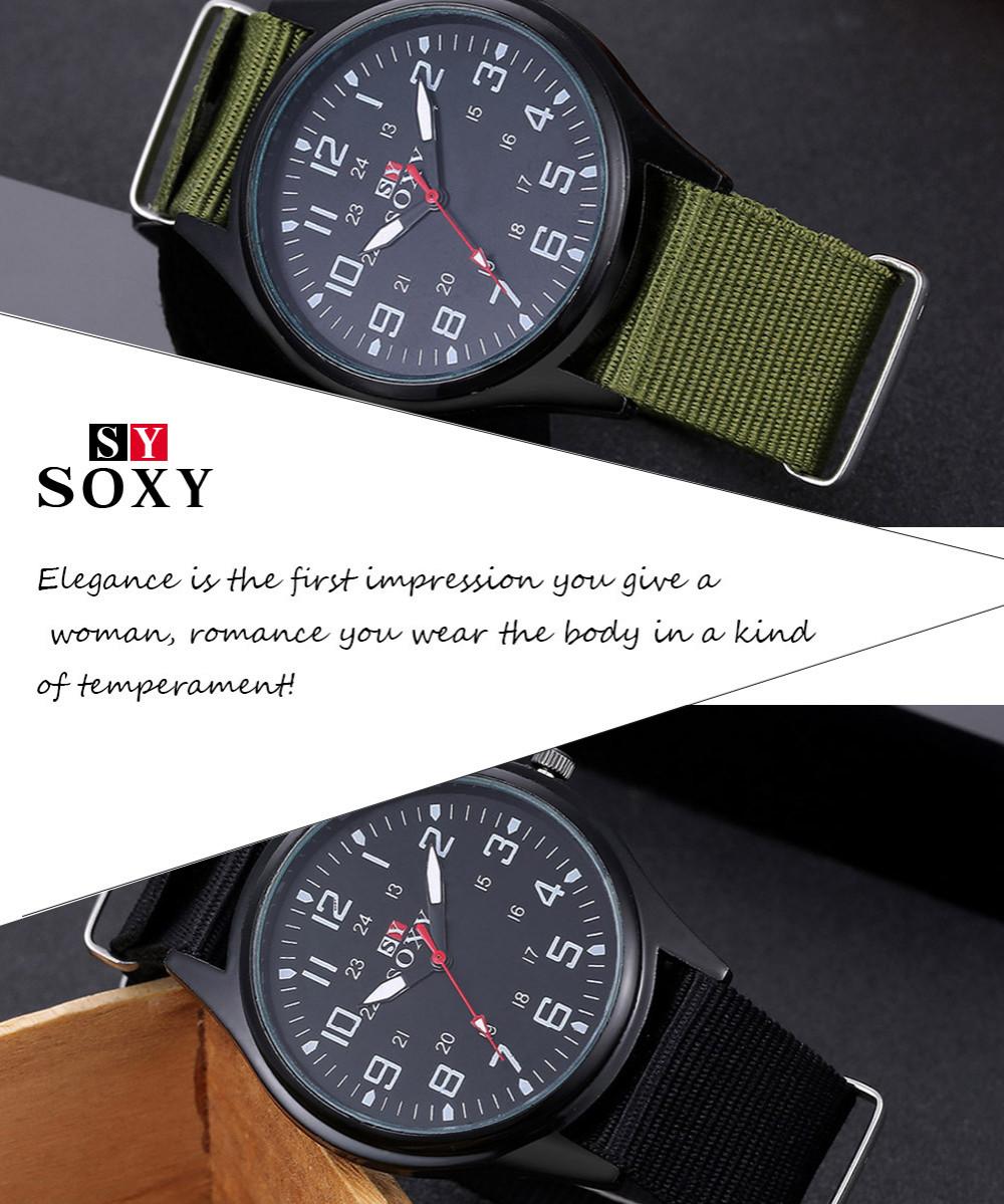 แฟชั่นไนล่อนนาฬิกาผู้ชายยี่ห้อใหม่SOXYกีฬาของผู้ชายควอตซ์ข้อมือทหารบางนาฬิกาอนาล็อกผู้ชา... 2