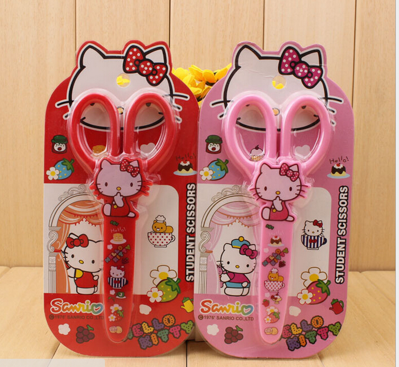 1 Pcs Hello Kitty 14CM School Children Handmade DIY Trimming Tools Safety Scissors Paper Cutting Baby Student Safety Scissors