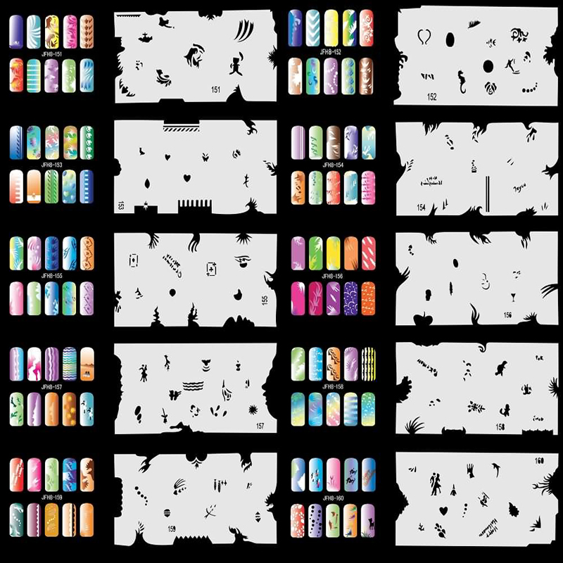 Ophir 20pcs Airbrushing Nail Art Stencils Stamping Nail Template