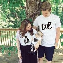 Модные одинаковые комплекты для семьи с надписью «Love»; комплект одежды; футболка для мамы, папы; Детский комбинезон; K329