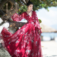 Jessica's Store Spring Summer Women Bohemia V Neck Long SLeeve Beach Casual Loose Floral Print Chiffon Red Vacation Maxi Dress