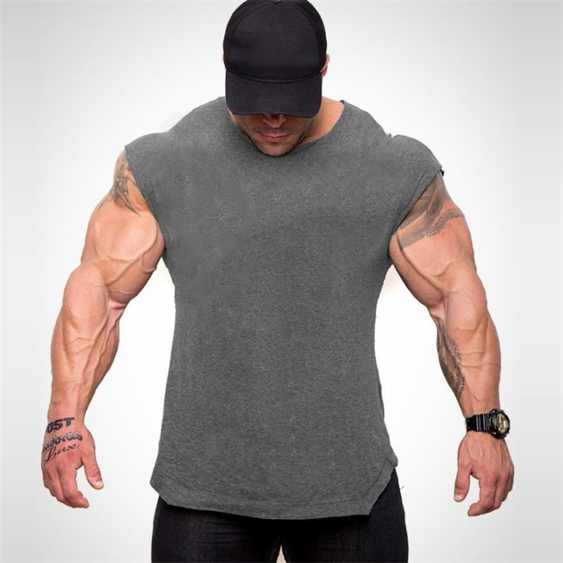 Brand Blank Fitness   Tank     Top   Men Crossfit Undershirt Sleeveless shirt Summer Sportswear Clothing Muscle Bodybuilding Vest Male