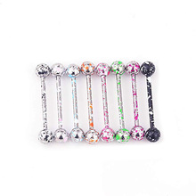 1Pcs Dark Color Snowflake Stainless Steel Acrylic Ball Tongue Bars Ring Ear Nail Clasp Bone Barbell Body Piercing Jewelry