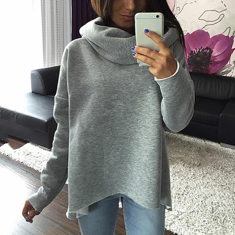 Christmas Women Autumn Winter Scarf Collar Long Sleeve Sweatshirts Warm Irregular Shirt Clothing S-XL