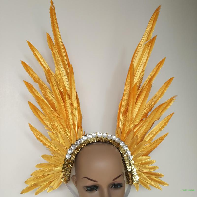 Bright diamond Gold feather model catwalk headwear dance stage performance feather headdress