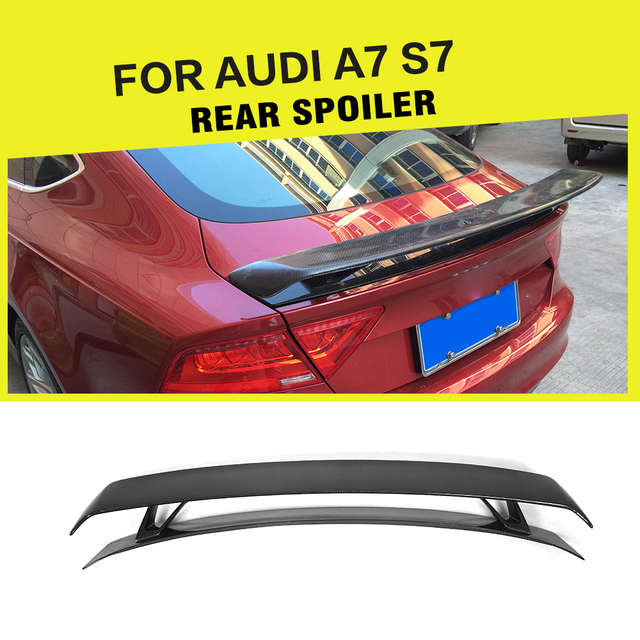 Carbon Fiber / FRP Rear Trunk Boot Racing Double-deck Spoiler for Audi A7 S7 RS7 2007-2012 Trim Custom Spoiler Wing Car Styling