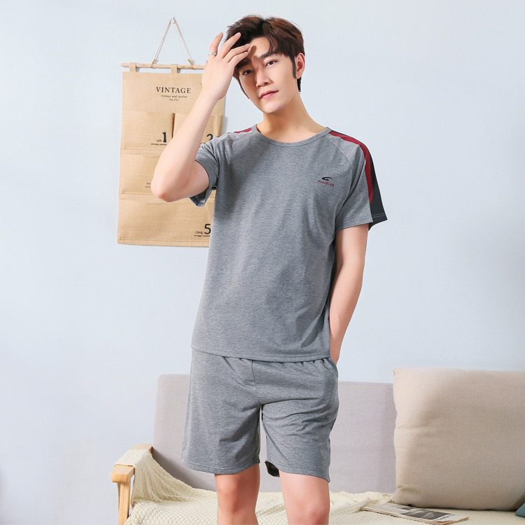 Men Summer Short Sleeve Cotton Pajamas Set O Neck Solid Color Male Home Sleep Wear Pyjama Trousers Night Shirt Suit Set L-3XL