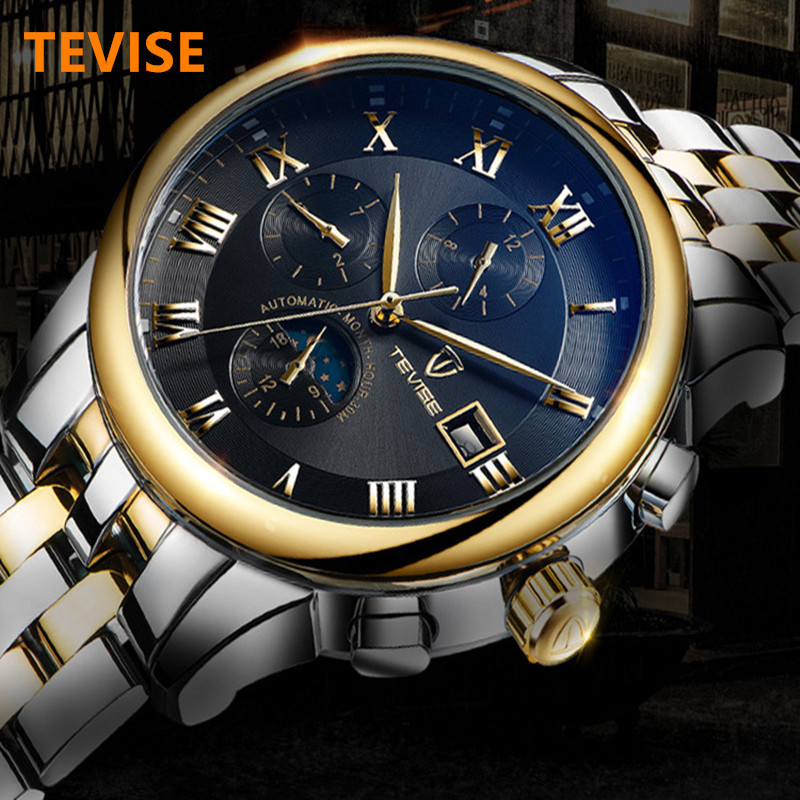 2017 Automatic Mechanical Watch Men TEVISE Moon Phase Stainless Steel Watch Waterproof Luminous Men's Watches Relogio Masculino tevise men watch black stainless steel automatic mechanical men s watch luminous waterproof watch rotate dial mens wristwatches