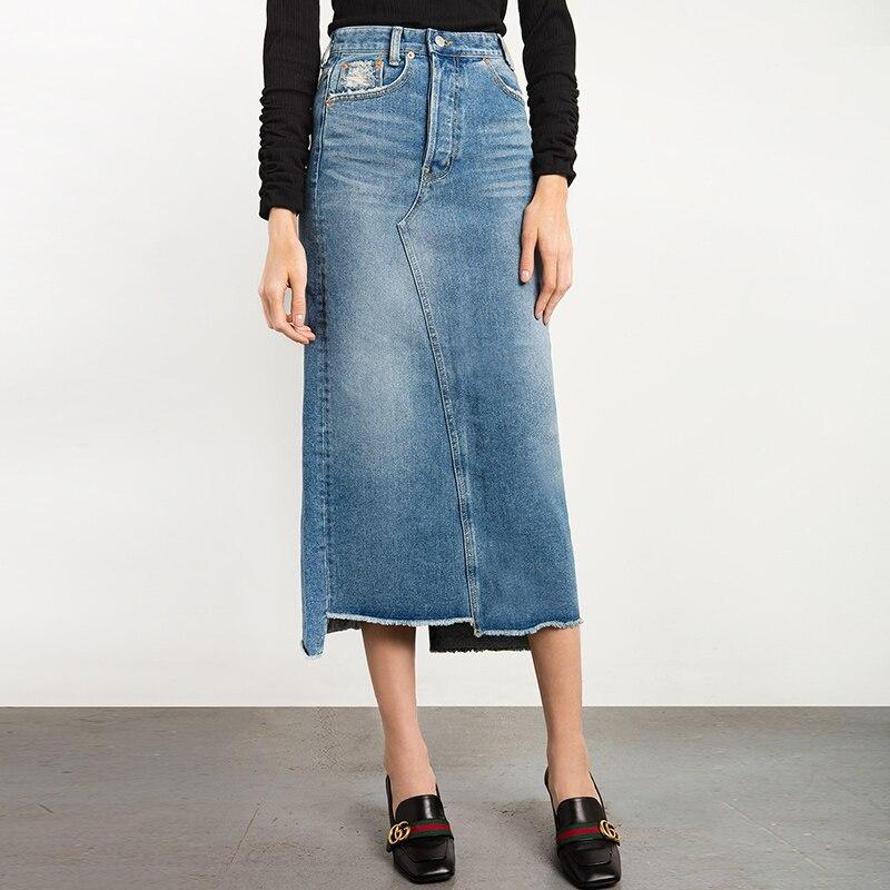 Spring Autumn Jeans Skirt Denim Skirts Long Skirt High Waist Jeans Maxi Skirts Saias Jean Longa