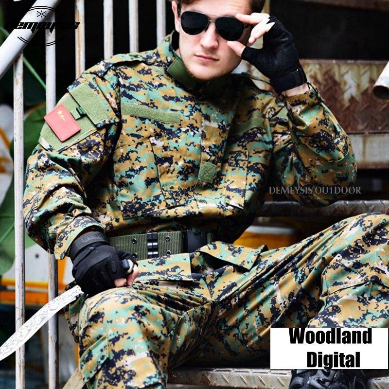 Ensemble tactique de costume de Camouflage numérique boisé uniforme militaire de Combat uniforme Airsoft chemise + pantalon
