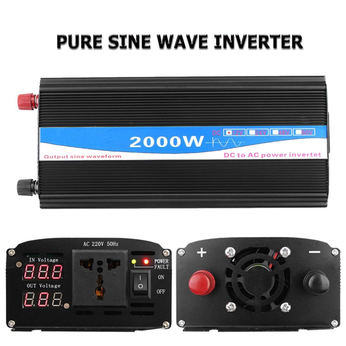 Newest 12V-220V 2000W Pure Sine Wave Inverter LED Power Inverter DC12V to AC 220V Digital Display