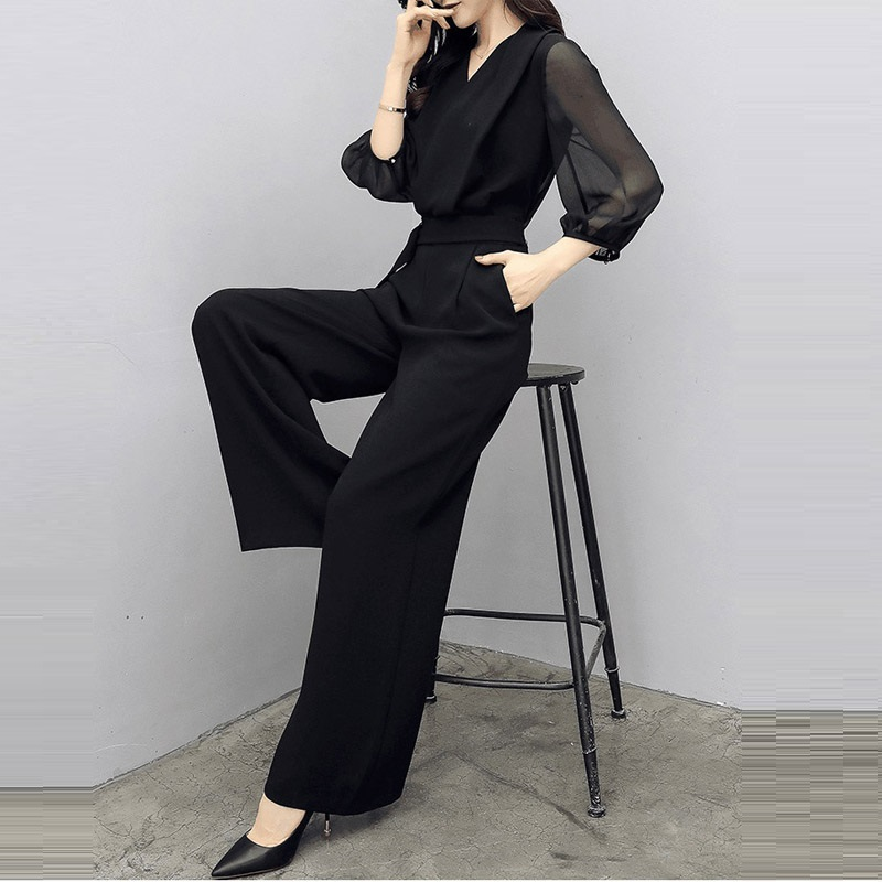 Rompers Womens   Jumpsuit   Long Pants 2019 New Spring Summer Office Lady Elegant Sexy Deep V-neck Wide leg   jumpsuits   Women Overalls