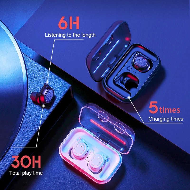 SANLEPUS słuchawki Bluetooth 5.0 TWS słuchawki mini niewidoczne 3D HiFi bezprzewodowy zestaw słuchawkowy stereo z bankiem energii okno ładowania