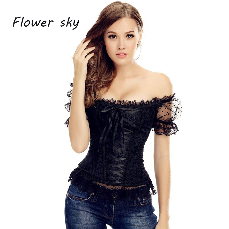 Women   Corset   Top with Lace Puff Sleeve Waist Trainer Cincher Control Body Shaper Overbust Slimming Black   Corset