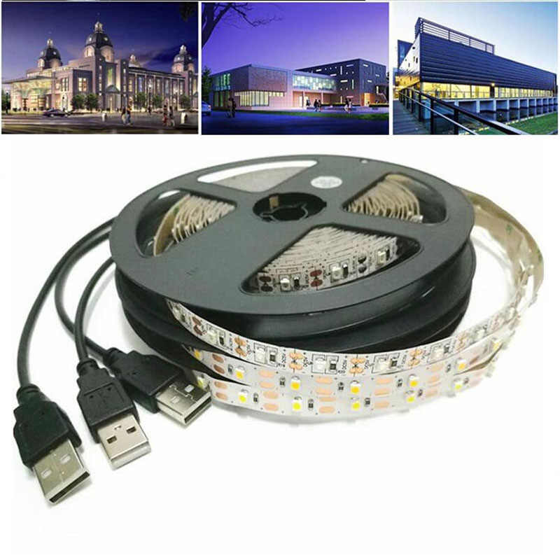 DC 5V LED Strip 3Key Kabel USB Power Fleksibel Lampu Lampu 50CM 1M 2M 3M 4M 5M SMD 2835 Meja Layar Tape TV Pencahayaan Latar Belakang