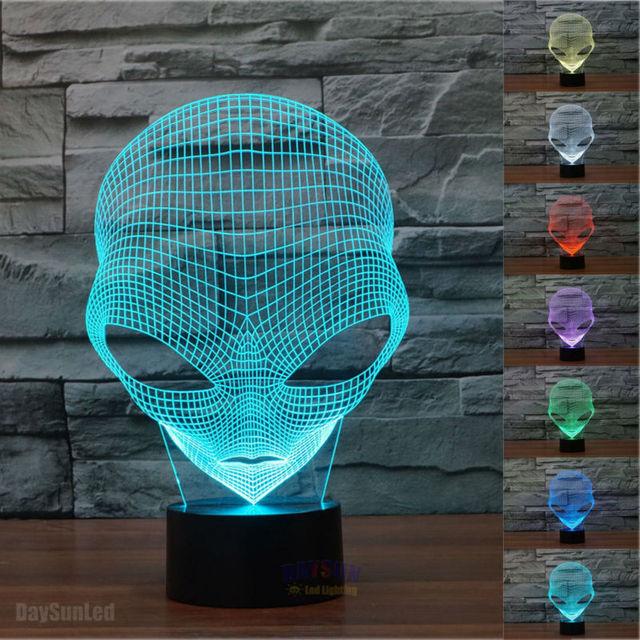 Envío Libre Creativo 3D Lámpara de Mesa Led Marcianos Extranjero Forma Luz de La Noche 7 Cambio de Color Ilusión Visual de Luz Nocturna Regalo de Navidad