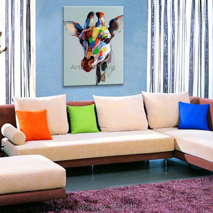 Lukisan minyak abstrak Modern pada kanvas untuk pop art jerapah - Dekorasi rumah - Foto 2