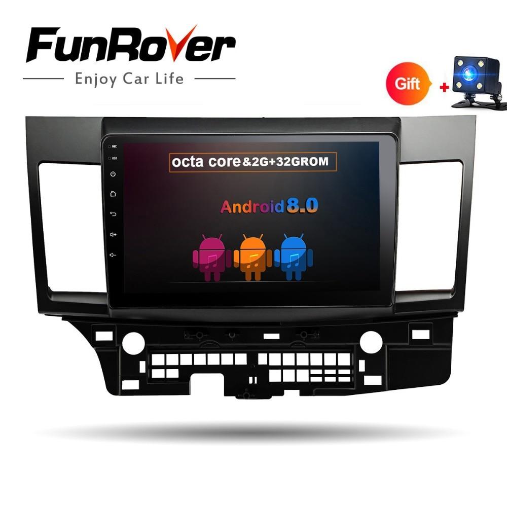 Funrover 8 noyaux Android8.0 2 DIN Voiture DVD GPS pour MITSUBISHI LANCER 2007-2016 headunit vidéo lecteur wifi Radio vidéo Stéréo navi