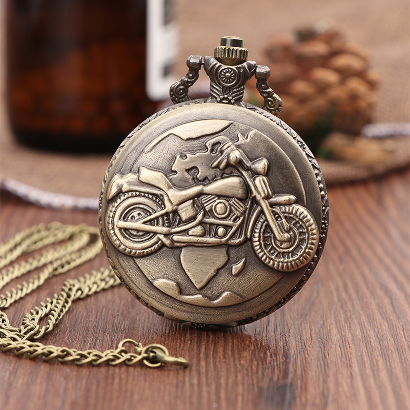 Antique Bronze Motorcycle MOTO Pocket Watch Necklace Pendant Men's Watch Steampunk Women Men Necklace Pendant Clock Gifts vintage antique carving motorcycle steampunk quartz pocket watch retro bronze women men necklace pendant clock with chain toy
