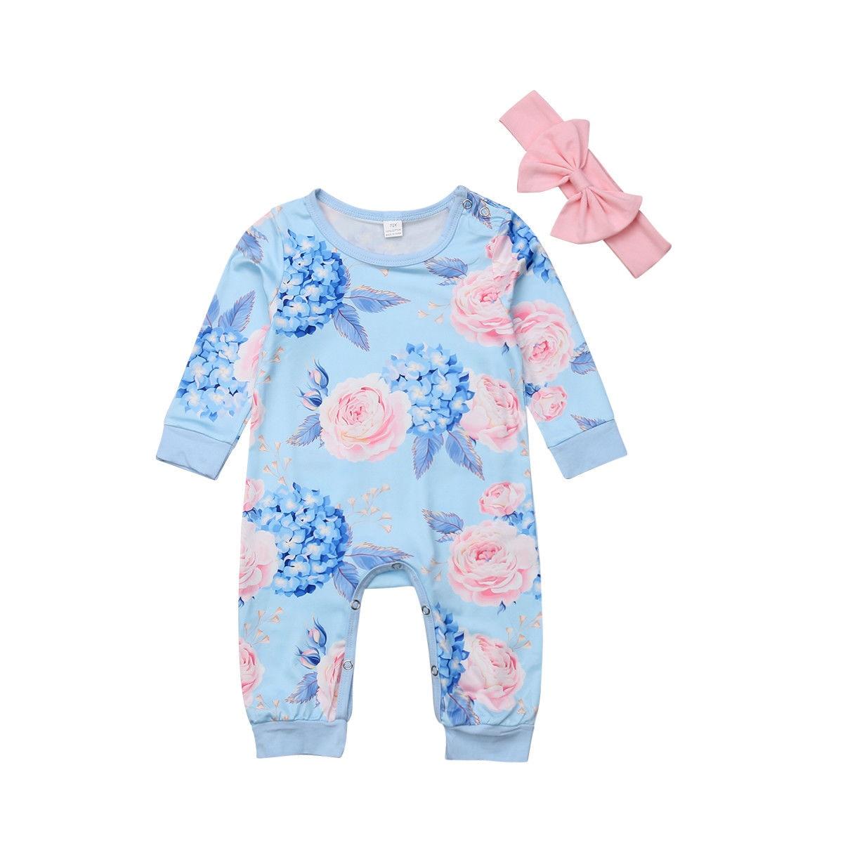 2 Stücke Neugeborenen Baby Mädchen Kleidung Floral Langarm Baumwolle Romper Overall Stirnband Outfits Kostüm
