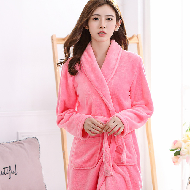 Watermelon Red Women Solid Flannel Nightgown Fashion Solid Warm Sleepwear  Cute Girl Long Sleeve Bathrobe Negligee Lingerie 08c6c6a6c