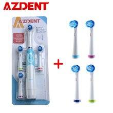 AZDENT 교체 헤드가있는 회전식 전동 칫솔 딥 클린 배터리 작동 칫솔 치아 미백 성인