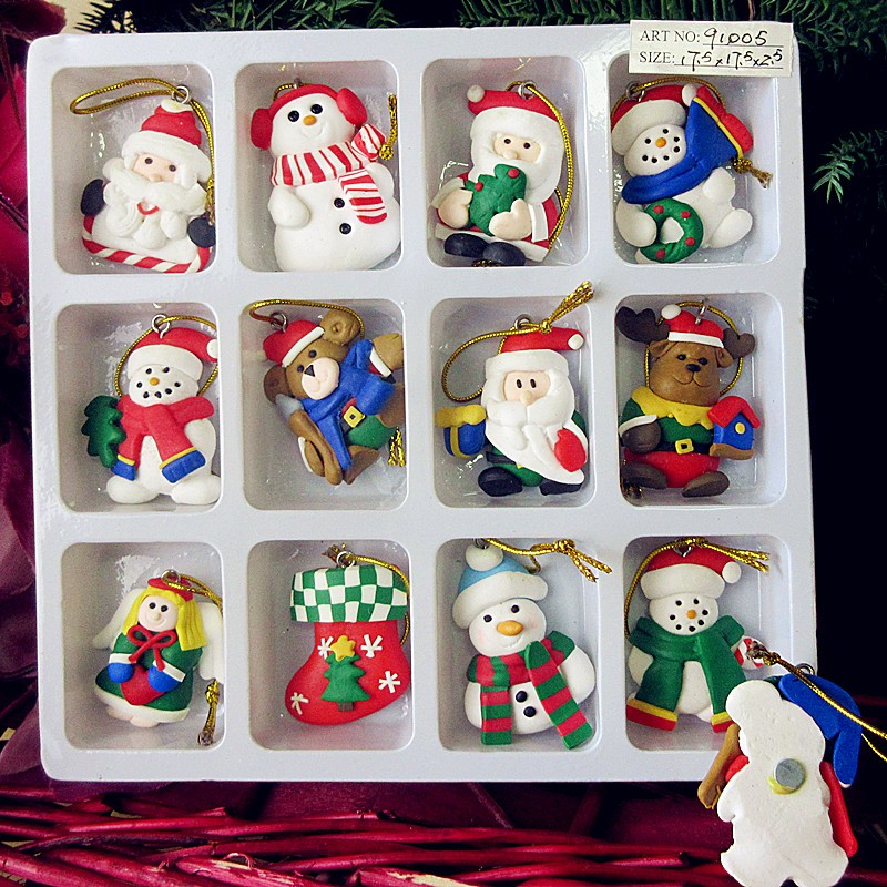 Handmade Polymer Clay Snowman Santa
