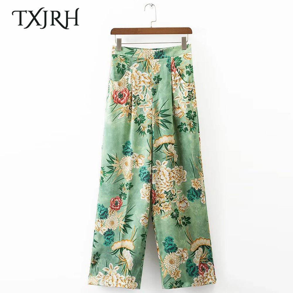 TXJRH Vintage Ethnic Floral High Elastic Waist Loose   Wide     Leg     Pants   Pockets Fashion Women Full Length   Pants   Trousers K17-02-22