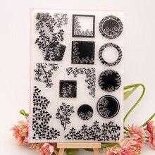 Ремесло Квадратный Круг листья прозрачный чистый силикон штамп для печати DIY Скрапбукинг фото украшение для альбома прозрачные силиконовые штампы