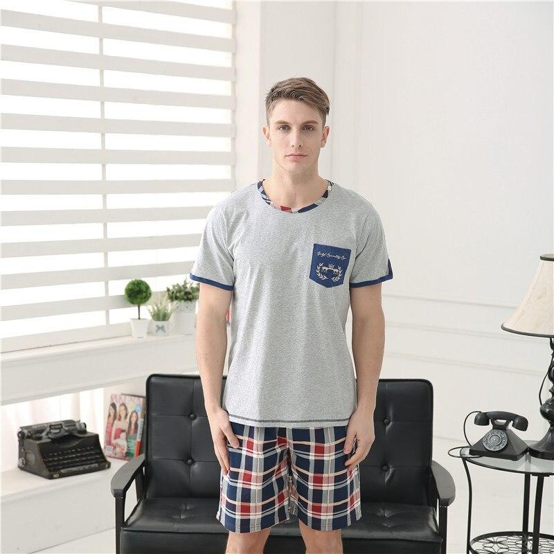 2015 New Men\'s Pajamas Suit Cotton Shorts Home Clothing Set Male ...