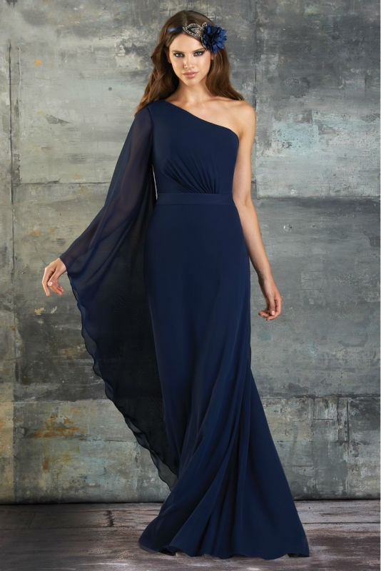 simple navy blue long bridesmaid dresses 2016 one shoulder