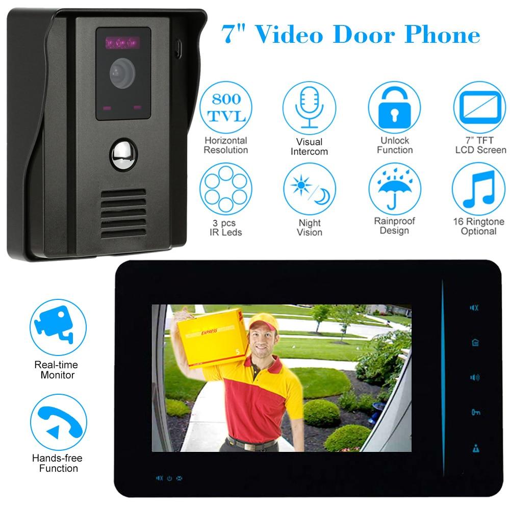 CUSAM Wired 7 Video Door Phone Intercom System 800TVL Doorbell Two way Audio IR Camera Night
