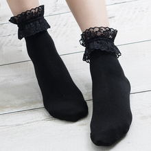 2 Pairs/Lot Woman South Korean Cotton Lace Up Short Socks Lotita Sweet Candy Pink/Blue Calcetines Mujer Students Campus Sokken
