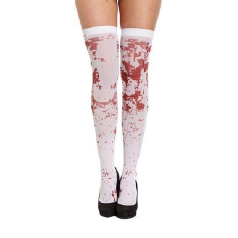 snowshine YLWX  Women Sexy Horror White Halloween Party Bloody Nurse Fancy Long Socks