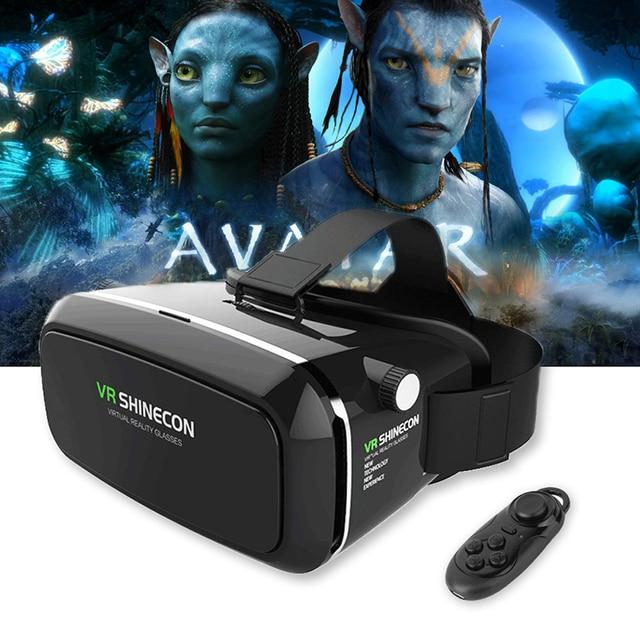 2017 Shinecon VR Pro Virtual Reality 3D Glasses Headset VRBOX Head Mount Google Cardboard Helmet For Smartphone 4-6'+ Remote
