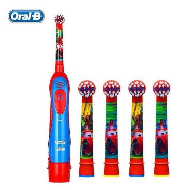 Oral B DB4510K дети Электрическая Зубная Щетка набор АА Батареи Зубная Щетка + 4 Rechangeable Детей Щетка Глав зубная щетка Pixar Cars