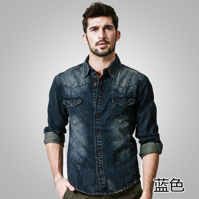 76cdd21254 US $59.95 |Autum New Mens Casual Camouflage Snow Wash Dark Washed Denim  Shirts Long Sleeve Distressed Jeans Ripped Cotton Linen Shirt G2201-in  Casual ...