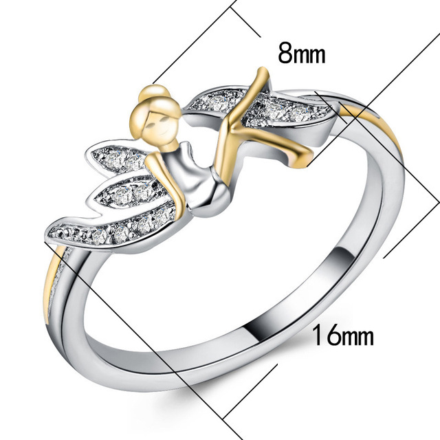 Octbyna Fashion Lucky Angel Sparkling Rhinestone Wings Ring Silver Flower Fairy Rings For Women Jewelry Wedding Rings 1