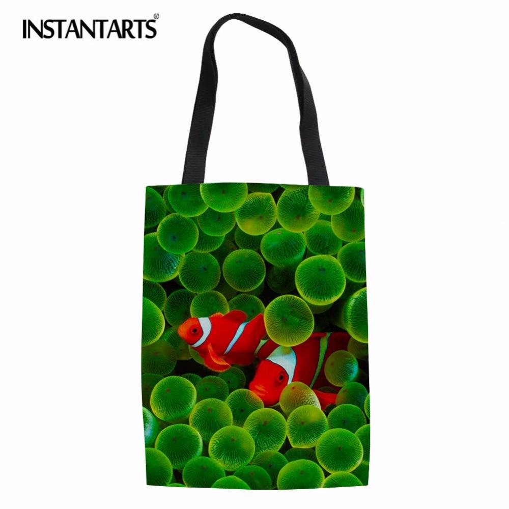 INSTANTARTS Cute Tropical Fish Pattern Big Tote Shopping Bags Fashion Linen Durable Grocery Bag Girls Lady Casual Canvas Handbag