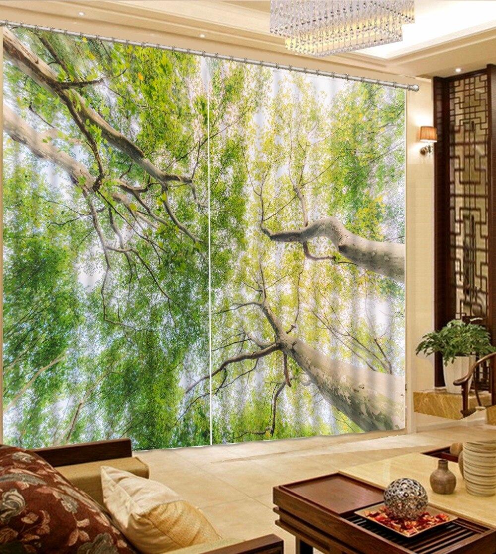extraordinary cafe curtain living room   Blackout Living Room Curtains giant trees Window Curtain ...