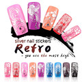 Yaoshun 3D Silver Nail Art Stickers Decals Hot Sale DIY Nail Decorations Tips Accessory Metallic Flowers Mixed Designs